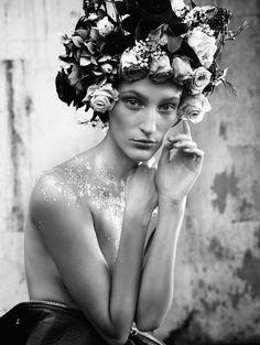 Monochromatic Bouquet-Inspired Fashions - Franzi Mueller Stars in Elle Sweden January 2014 (GALLERY)
