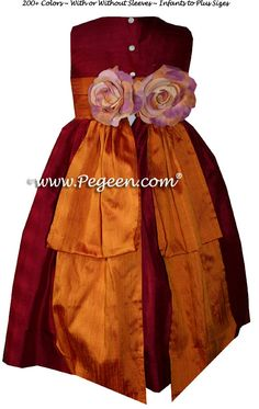 Custom Flower Girl Dresses in Cranberry with Pumpkin bustle. Pegeen Classic style 383 from infants through plus sizes. Red Flower Girl Dresses, Custom Dresses, Red Silk, Orange Flowers, Bustle, Party Fashion, Classic Style, Pumpkin, Couture