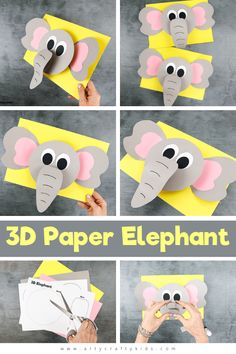 Cute Kids Crafts, Easy Arts And Crafts, Craft Projects For Kids, Arts And Crafts Projects, Toddler Crafts, Preschool Elephant Crafts, Giraffe Crafts, Preschool Crafts, Classroom Crafts