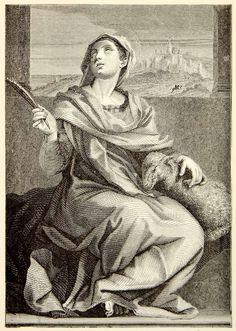 1892 Wood Engraving Saint Agnes Andrea Del Sarto Lamb Sheep Renaissance XAKA1
