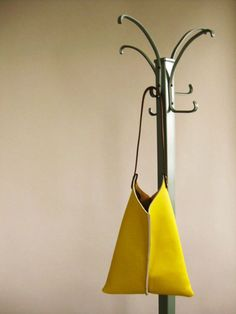 LARGE SLOUCHY LEATHER BAG by Scabby Robot in Lemon Yellow