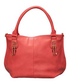 This Elise Hope Salmon Double-Buckle Weston Satchel by Elise Hope is perfect! #zulilyfinds