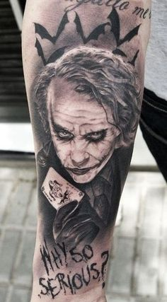 Heath Ledger will forever be immortalized as the Joker in The Dark Knight. Tattoo by Miguel Bohigues. http://www.menstattooideas.net/batman-tattoos/ More #TattooIdeasForGuys