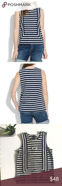 🆕 List! Madewell frameset ponte tank in stripe Sold out online! Nautical stripes with stretchy, soft ponte. So cute paired with jeans or a sleek skirt! Exposed zipper in the back. Length is 21 1/4in. (Slight structured high low hem) bust is 15in. Madewell Tops