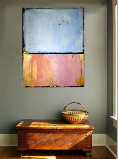 Original Abstract painting, abstract expressionist fine art, pink blue and gold acrylic paint