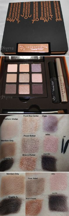 """#SEPHORA :: Anastasia Want You to Want me Palette (Holiday 2012) :: $34   sephora.com :: Included 9 matte & pearlized nude & plum shadows, liquid eyeliner & mini clear brow gel + 4 """"look guides"""". :: Shown swatched w/ no primer... all the colors are pretty obvious, except the 2 darker shades--Graphic Ts is a deep satiny chocolate brown w/ tiny microglitter & Iron On is a blackened plum w/ tiny microglitter. :: My favorite kinds of colors!"""