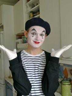 My Son the Mime - Clown Schminke Purim Costumes, Easy Diy Costumes, Cute Costumes, Pierrot Costume, Mime Costume, Circus Themed Costumes, Clown Face Paint, Mime Makeup, Makeup Eyebrows
