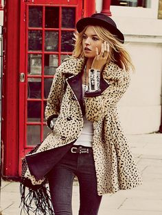 Free People Leopard Swing Coat at Free People Clothing Boutique