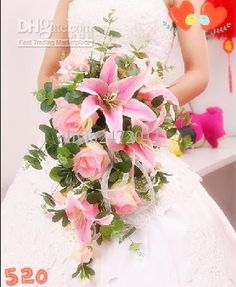 Wholesale Rose Lily Bride Wedding Bouquet hand Flower Artificial Flower Adornment Silk Flower 2 Colors CN3, Free shipping, $33.04-39.2/Piece | DHgate