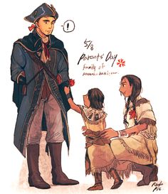 0rodo0: 5/8 is Parents' day in South Korea. So I draw it. Young Ratonhnhaké ton give a carnation to Haytham :)