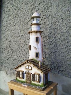 Faro con casetta Paper Doll House, Paper Houses, Kayak Lights, Diorama Kids, Fantasy House, Fairy Garden Houses, Home Candles, Miniature Houses, Garden Crafts