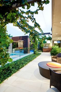 Exterior, Modern A Stunning Retreat Home Courtyard Featured With Long Swimming Pool Surrounded By Glass Balustrade: Extraordinary Modern Exterior House with Swimming Pool