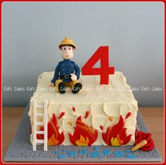Some Cool Fireman Sam Themed Cakes / Fireman Sam Cake Ideas from around the web . Firefighter Birthday Cakes, Truck Birthday Cakes, Fireman Birthday, Fireman Party, 4th Birthday, Birthday Ideas, Fire Engine Cake, Fireman Sam Cake, Fire Cake