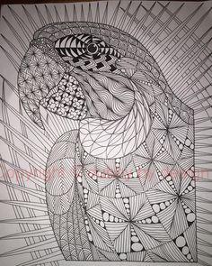 Macaw with background #dubbybydesign #zentangle #zentangleinspiredart #benkwok #ornationcreation #inkdrawing #zendoodle #doodle