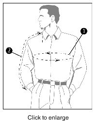 How To Find Your Jacket Size - click to enlarge