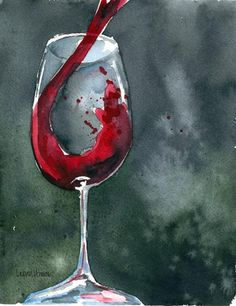watercikir wune | Print Watercolor Painting Red Red Wine by laurenspaintpalette