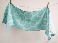 Ready to Ship water lily folk art hand printed muted aquamarine on pale aqua linen home decor table runner by giardino on Etsy https://www.etsy.com/listing/179065293/ready-to-ship-water-lily-folk-art-hand