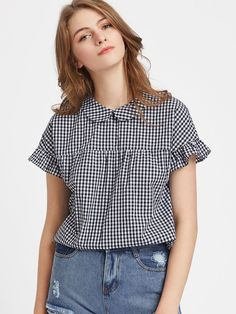 Material: Cotton Color: Black and White Pattern Type: Plaid Collar: Peter Pan Collar Style: Casual, Cute Type: Tunic Decoration: Ruffle, Bow Sleeve Length: Short Sleeve Fabric: Fabric has no stretch Season: Summer Shoulder(Cm): Bust(Cm): Length(Cm Collar Styles, Blouse Styles, Kurta Designs, Blouse Designs, Fall Outfits, Casual Outfits, Diy Clothes, Clothes For Women, Girl Fashion