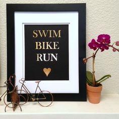 SWIM BIKE  RUN  Triathlon gold 5x7 print on white or by SweatStyle, $15.00