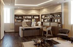 Modern Office Design for Administration of East Capabilities Co Master office suite with subdued color tones, beige walls, cream furniture and dark oak wood floori Modern Office Design, Office Interior Design, Luxury Interior Design, Office Interiors, Modern Interior, Classic Interior, Modern Luxury, Ceo Office, Office Suite