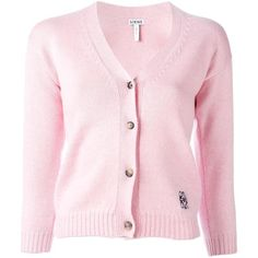 Loewe cropped cardigan ($650) ❤ liked on Polyvore featuring tops, cardigans, pink, pink top, pink crop top, cardigan top, loewe and wool cardigan