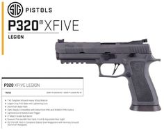NEW PISTOL: SIG Sauer Announces The XFIVE LEGION Competition pistol with tungsten infused grip module, optics cuts, magazines with aluminum basepads and match bull barrel Sig Legion, Sig 320, Sig Sauer 9mm, Firearms, Hand Guns, Arsenal, Weapons, Pew Pew, Pistols