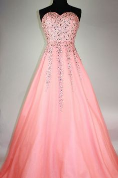 Peach Organza sweetheart prom dress, beading A-line long prom dresses for teens ,evening dresses