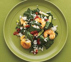 Stir-Fried Shrimp, Rice, and Collard Greens | They may be small in size, but the shrimp in these healthy dishes pack tremendous flavor.