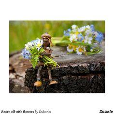 Acorn elf with flowers postcard