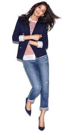 LOFT- navy blazer + boyfriend jeans