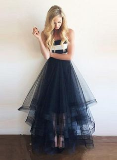 Strapless Prom Dress,Floor Length Evening Dress,Navy Blue Prom Dress,a line prom dresses
