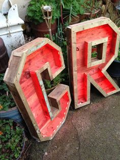 LED light up letters made from wood ideal for garden