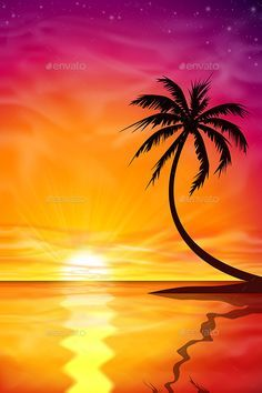 Palm Tree Vector, Abstract Styles, Beautiful Sunset, Landscape Paintings, Tree Paintings, Palm Trees, Sunrise, Scenery, Garage Organization