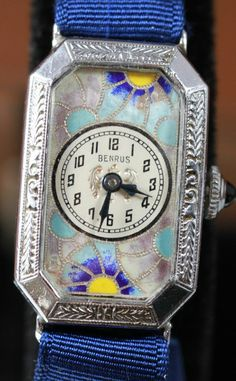Benrus Art Deco Cloisonné Enamel Watch Circa 1920 s from vintagewatches on  Ruby Lane Benrus Watch 64ce003d62