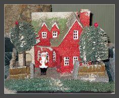 Vintage Putz house and santa