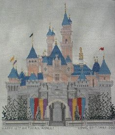 cross stitch of sleeping beauty's castle | sleeping beauty's castle cross stitch kit