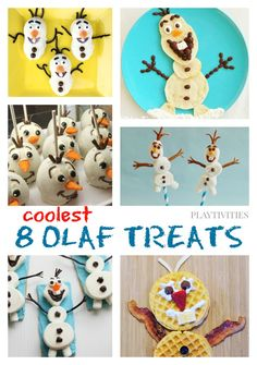 OLAF THE SNOWMAN TREATS TO MAKE WITH YOUR KIDS  I call these Olaf the snowman treats edible crafts. In case your child needs extra motivation to get up and make a craft, try offering Olaf craft that later you can eat. How cool is that!