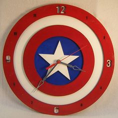 The perfect gift for the recently promoted Captain, that hardcore Captain America fan, or even for the 'mancave' Avengers Room, Marvel Room, Diy Clock, Clock Wall, Wall Art, Luminaria Diy, Bedroom Clocks, Record Crafts, Superhero Room
