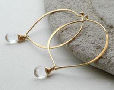 Large Hoop Earrings, Petal Earrings, Customized Hoops, Gemstone Earrings, Crystal Earrings, 14k Gold Fill, Vermeil, Sterling Silver