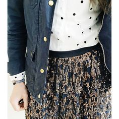 Two more days until the long weekend! I'm celebrating with sequins! | Abstract sequin skirt in copper, perfect shirt with polka dots, downtown field jacket in navy, and English saddle oxfords all from @jcrew ✨ #howtojcrew #ootd