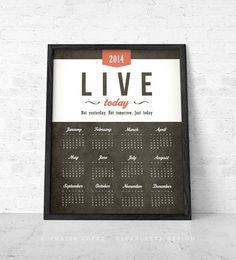 2014 Calendar print. Wall calendar Calendar by Latte Design