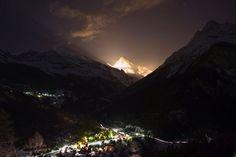 Alpenglühen Kanton Wallis, Switzerland