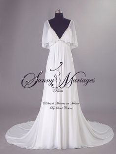 robe de mariage boheme chic empire fluide en mousseline sur mesure et pas chere SUNNY MARIAGES - Paris