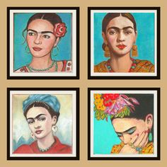Sale Frida Kahlo Gift Set of Four Prints Mexican by KarenHaringArt, $35.95