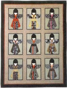 Myomi Japanese Kimono Girls Quilt Pattern How to Amy Myoraku Oriental OOP Japanese Quilt Patterns, Japanese Patchwork, Japanese Fabric, Quilt Block Patterns, Japanese Kimono, Quilt Blocks, Asian Quilts, Kimono Pattern, Quilt Modernen