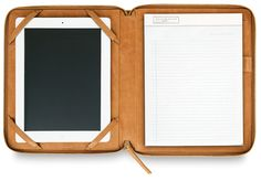Man that Ipad case UP with this leather iPad case from Russel + Hazel. One side is for the iPad, and the other is for a tablet of good old-fashioned paper. Available at Etcetera for $132 orwww.russellandhazel.com