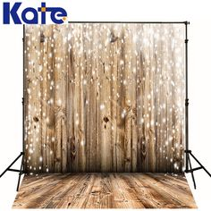 Snow Falling Christmas Background Wood Backdrops  by katehome2014