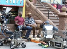 Frankie Faison with Mike Colter who stars as the title character in Marvel / Netflix's 'Luke Cage:Hero For Hire' on September 22, 2015 in New York City.
