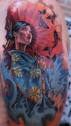 Tsunami, kois and geisha #TattooModels #tattoo