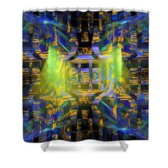 """Colorful Modern Art Fractal Pattern shower curtain.These curtains are made from 100% polyester fabric and include 12 holes at the top of curtain for simple hanging from your own rings. Shower curtains are 71"""" wide by 74"""" tall....."""